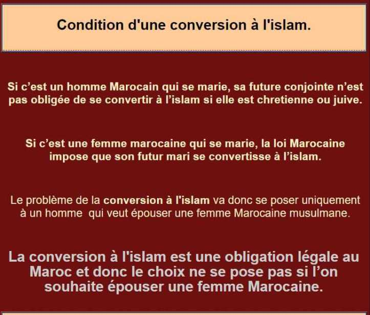 Mariage maroc conversion homme
