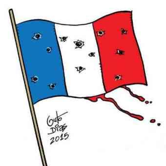 Drapeau français mitraillé