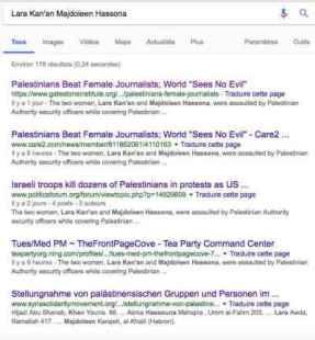 Recherche Googe Lara Kan'an Majdoleen Hassona anglais