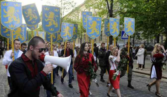 Ukraine 27-4-2014 71e anniversaire bandera crée une division SS.jpg